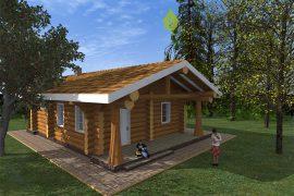 Проект деревянного гостевого дома с баней «Аспен» — 111 м2