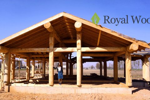 Строительство дома из кедра по безусадочной технологии post and beam в Слуцке