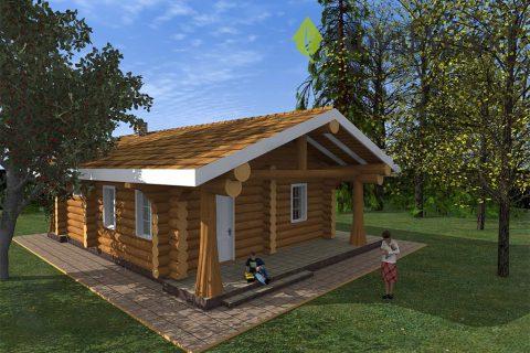 Проект деревянного гостевого дома с баней «Аспен» — 111 м²