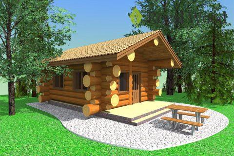Проект деревянной одноэтажной бани «Бернаби» площадью 33 м²