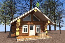 Проект деревянной кедровой бани «Пэрри» — 51 м²