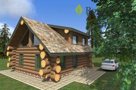 Проект деревянной бани с мансардой «Калгари» площадью 75,8 м²